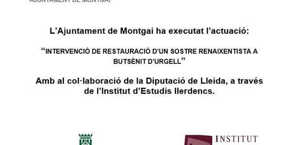 """Justificació Diputació de Lleida i el IEI  """"Intervenció de Restauració d'un sostre Renaixentista a Butsènit d'Urgell"""""""
