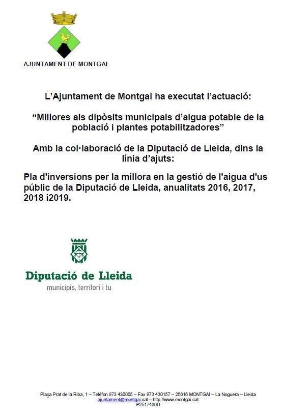 Diputació de Lleida: Millora de l'aigua potable