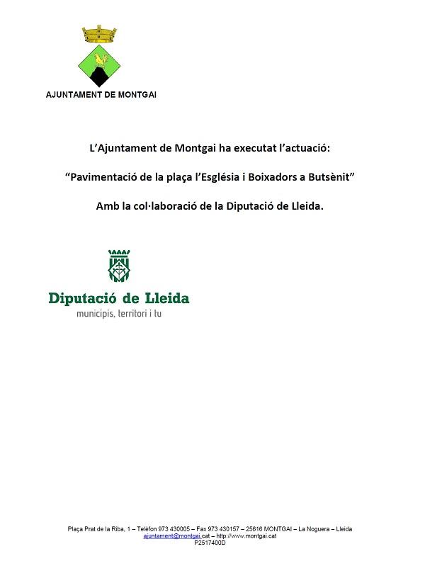 Diputació de Lleida: Pavimentació pl. Església i Boixadors de Butsènit
