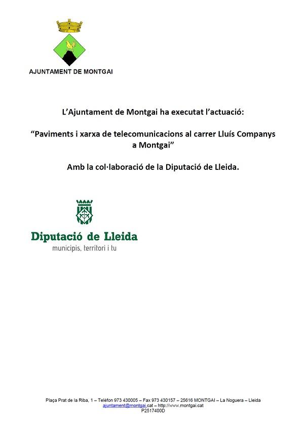 Diputació de Lleida: Pavimentació i telecomunicacions c. Lluís Companys