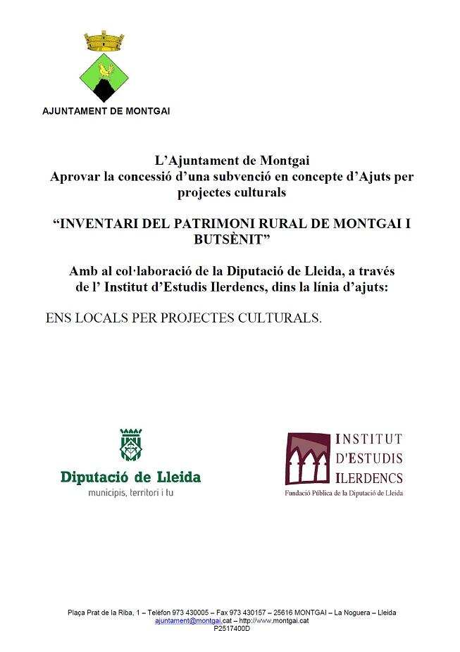 Diputació de Lleida: Inventari del patrimoni rural de Montgai i Butsènit