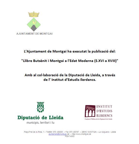 Diputació de Lleida: Butsènit i Montgai a l'Edat Moderna (s. XVI-XVIII)
