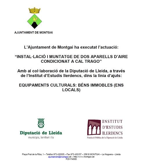 Diputació de Lleida: Aire condicionat a Cal Trago