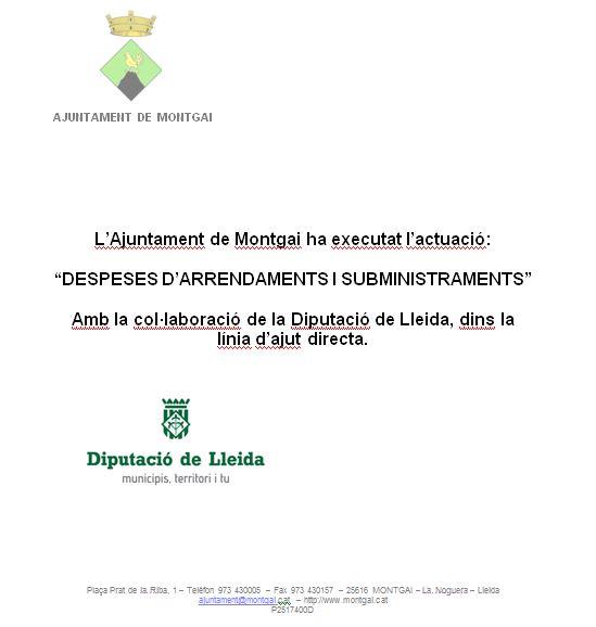 Diputació de Lleida: Despeses d'arrendaments i subministraments 2018