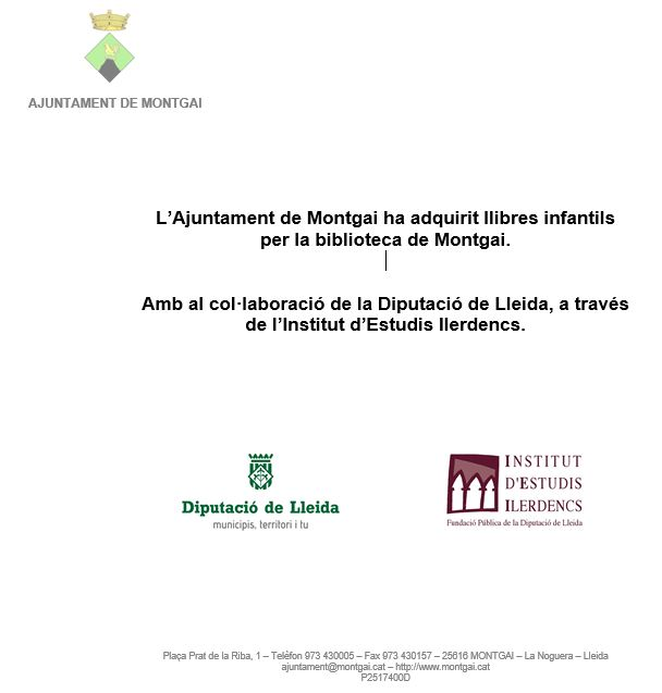Diputació de Lleida: Llibres infantils per la Biblioteca de Montgai