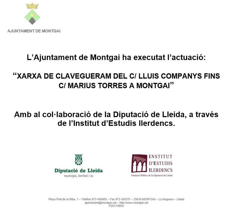 Diputació de Lleida: Xarxa de clavegueram de Montgai