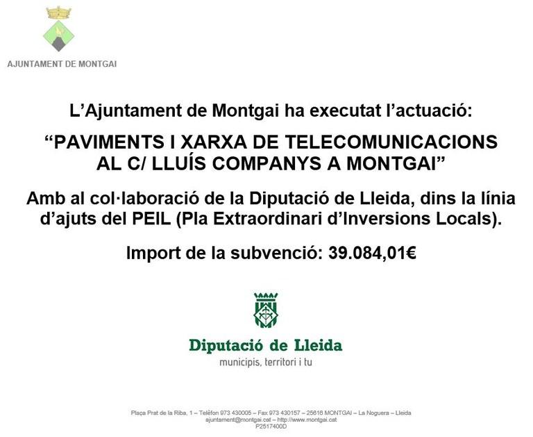 Diputació de Lleida: Xarxa de telecomunicacions de Montgai