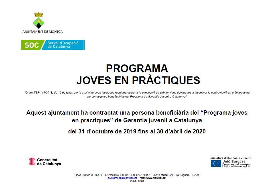SOC: Programa Joves en Pràctiques 2019-2020