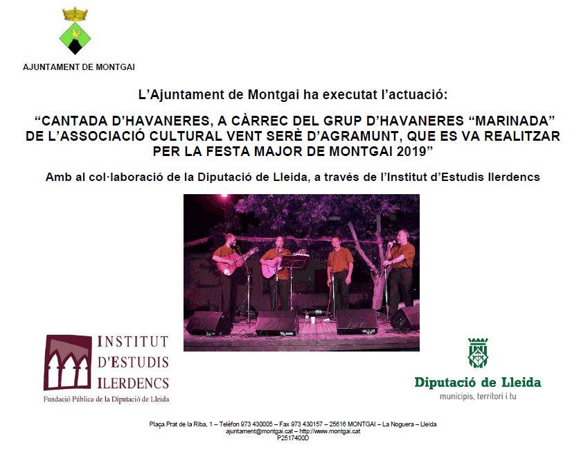 Diputació de Lleida: Havaneres a la Festa Major de Montgai 2019