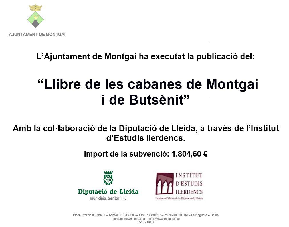 Diputació de Lleida: Llibre de les cabanes de Montgai i Butsènit