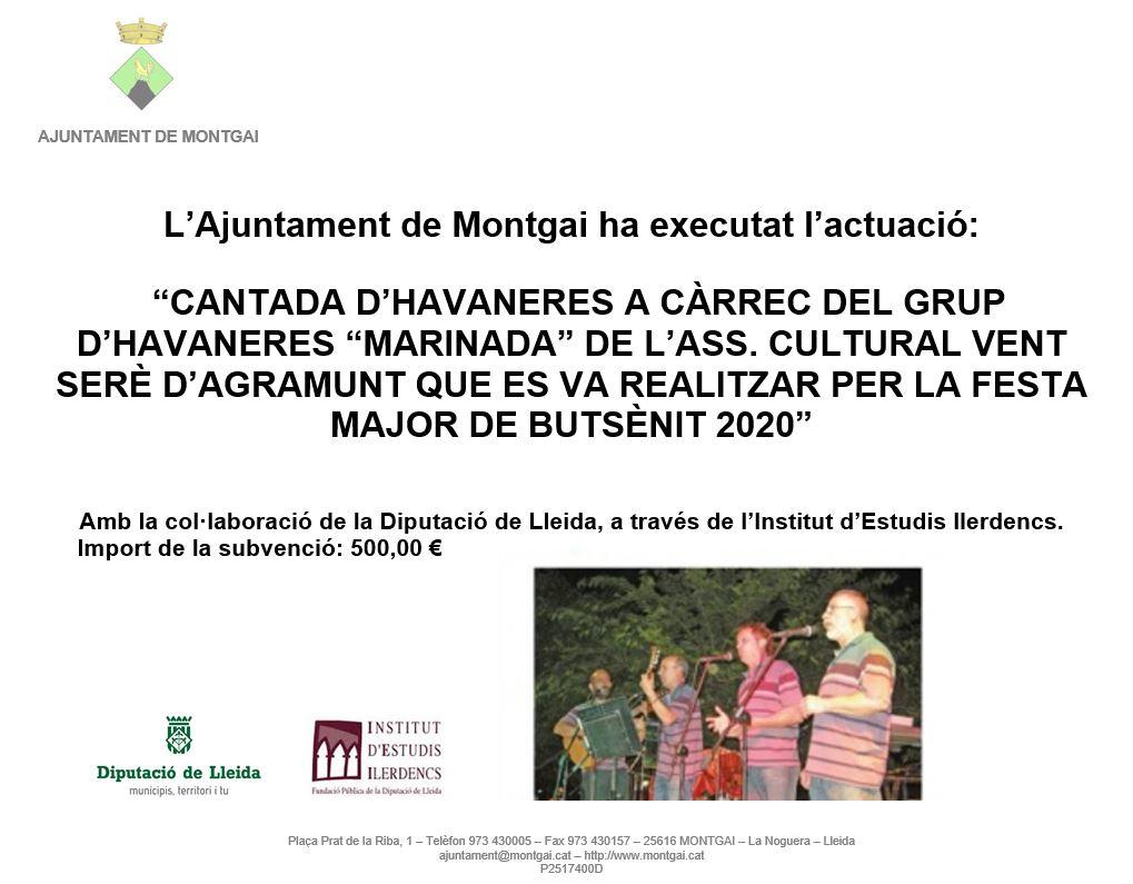 Diputació de Lleida: Havaneres a la Festa Major de Butsènit 2020