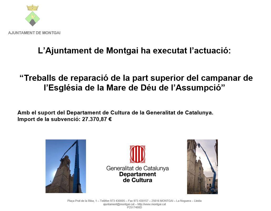 GenCat: Reparació del campanar de Montgai